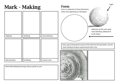Mark-making activity sheet