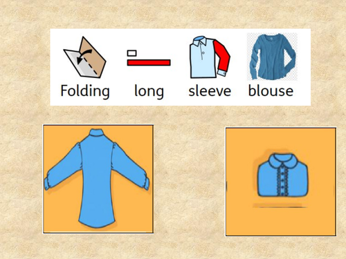 Folding and hanging clothes - Visual step by step 7 worksheets  and  7 powerpoints  in widgit