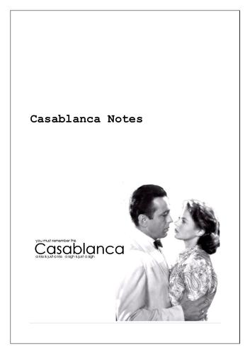 Casablanca Film Notes and Worksheet on Film Arc