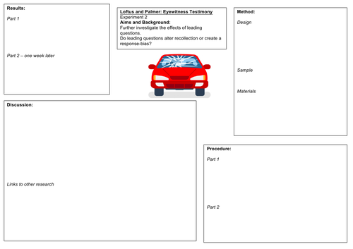 OCR Psychology Loftus and Palmer Worksheets