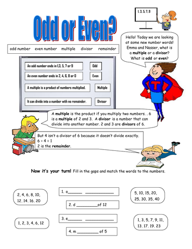 Numbers! Odd, Even, Multiples, Divisors and Remainders