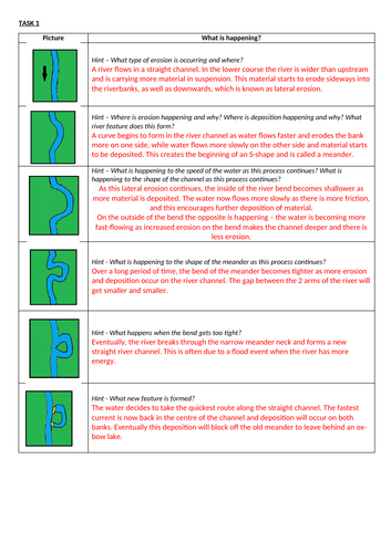 Meander and Oxbow Lake Formation -  Worksheet