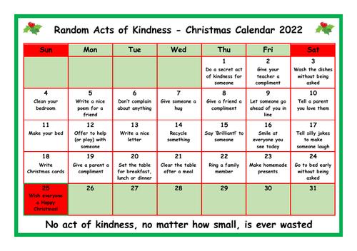 **Random Acts of Kindness - Christmas Calendar 2020 & 2021**