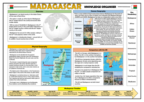 Madagascar Knowledge Organiser - Geography Place Knowledge!