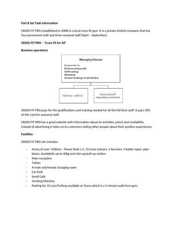 BTEC LEVEL 3 SPORT - UNIT 22 MOCK  EXAM