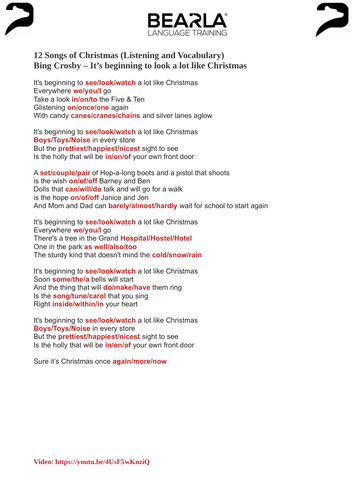It's beginning to look a lot like Christmas - worksheet and video