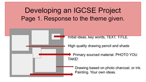 Developing an IGCSE project in Art.