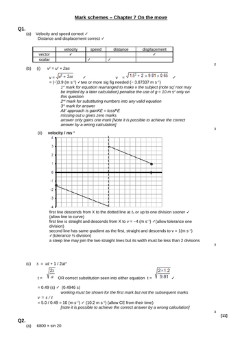 A level Physics - Mechanics and materials (Chapter 7) Kinematics - On the move - Assessment