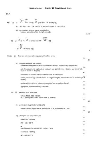 A level Physics - Fields (Chapter 21) Gravitational fields - Assessment