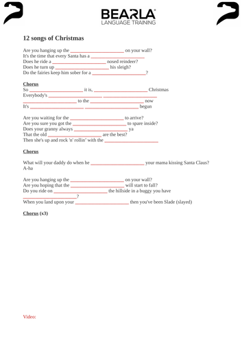 Merry Xmas Everybody - worksheet and video