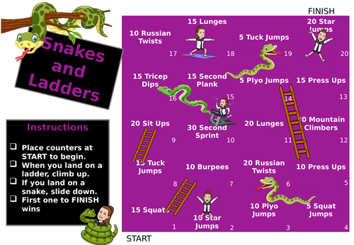 Snakes and Ladders Fitness Game
