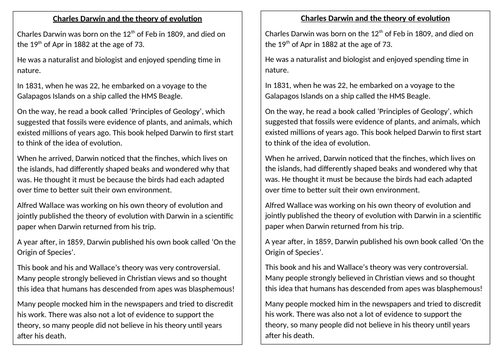 Science (Biology) KS3 - Charles Darwin