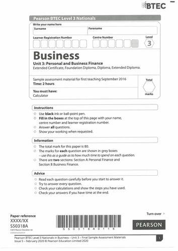 BTEC Level 3 Business Unit 3: Personal and Business Finance - Securing a Distinction