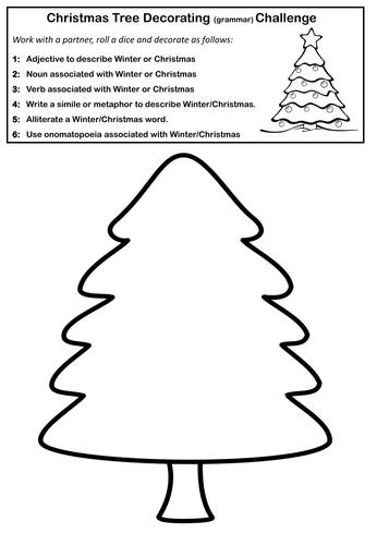 Christmas Tree Decorating Grammar Challenge