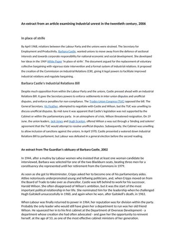 AQA Modern Britain 1951-2007, Industrial relations under Harold Wilson
