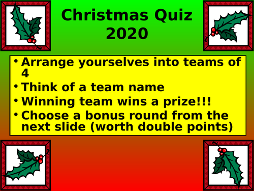 End of 2020 quiz - COVID Free