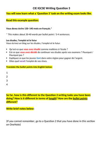 CIE IGCSE writing practice on jobs topic