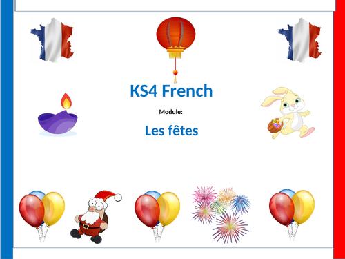 Festivals lesson for KS3 or GCSE foundation - French