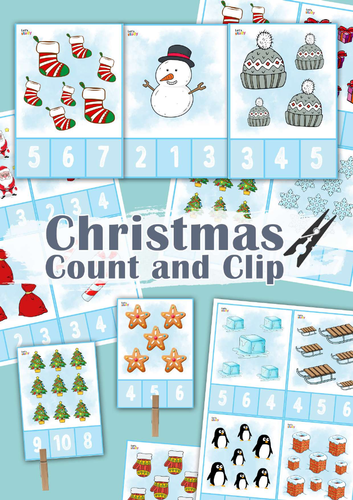 Christmas Count and Clip Number Cards 1-10