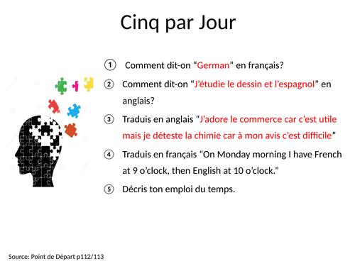 GCSE Studio French Mod 6 Retrieval Activities