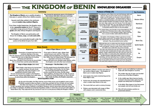 Kingdom of Benin Knowledge Organiser!