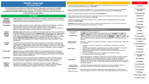 GCSE Media Studies Key Concepts - Knowledge organisers