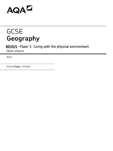 Mock GCSE Geography (8035) AQA - Paper 1