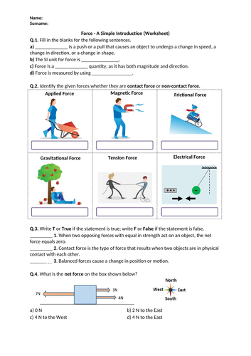 Force (Introduction) - Worksheet | Distance Learning