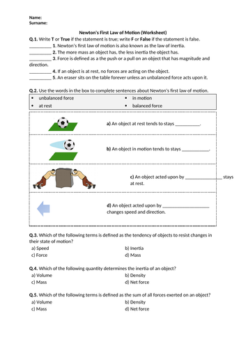 Newton's First Law of Motion - Worksheet | Distance Learning
