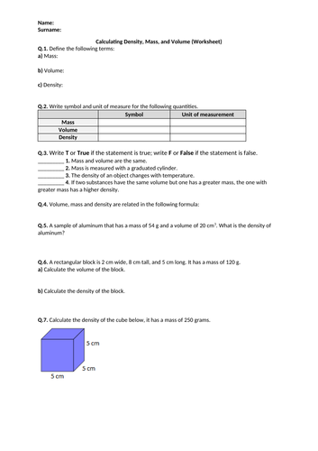 Calculating Density, Mass, and Volume - Worksheet | Distance Learning