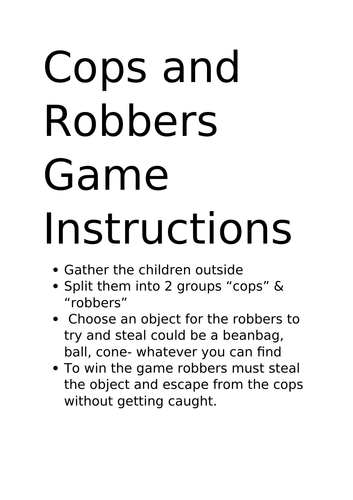 cops and robbers game People Who Help us