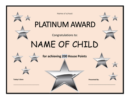 Star & House Point Certificates - Fully Editable
