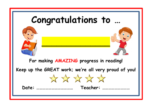Reading  Certificate - Fully Editable