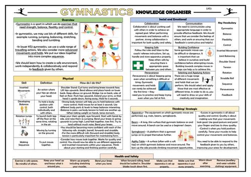 Gymnastics - Lower KS2 PE Knowledge Organiser!