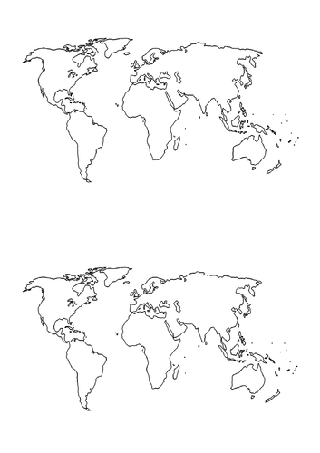Map of the World - Outline (Worksheet)