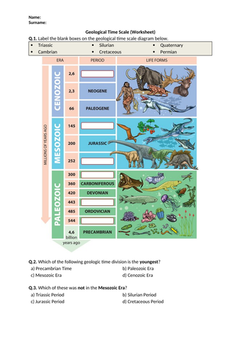 Geological Time Scale - Worksheet | Distance Learning