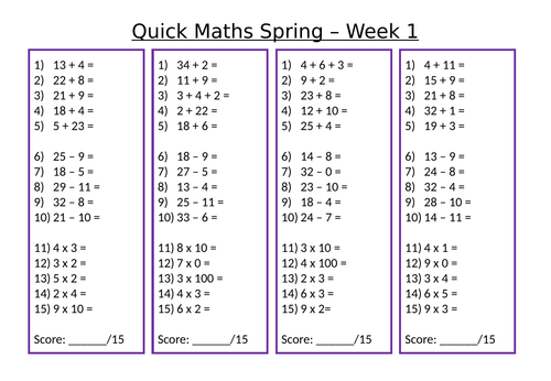 Maths Starters and Answers (6 Weeks)