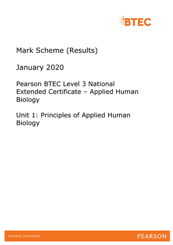 BTEC Nationals Applied Human Biology Past papers and mark schemes