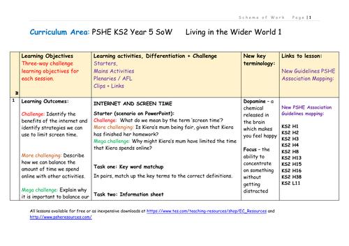 Living in the Wider World 1 Scheme of Work Year 5 PSHE