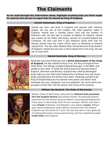 KS3 History Scheme of Work - 1066 + The Norman Conquest