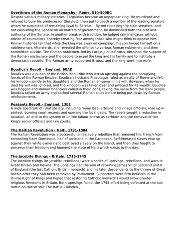 KS3 History Scheme of Work - Revolutions - French, English, Industrial, American