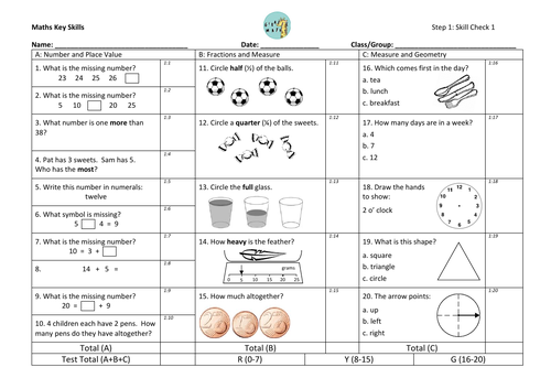 Year 1-6 mini assessments with Euro coins