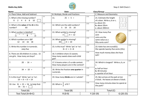 Year 2 mini assessments with Euro coins