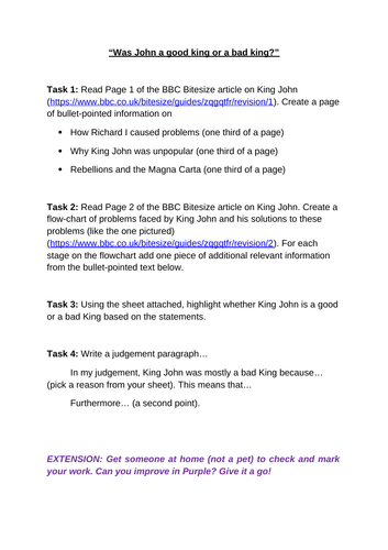 Year 7 Medieval Life KS3 - Working from Home / COVID worksheets
