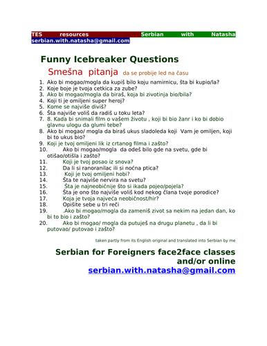 Funny Icebreaker Questions in Serbian