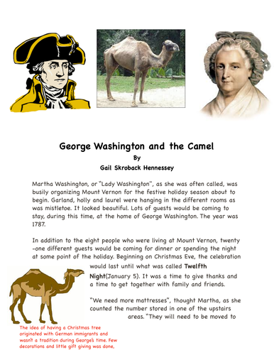 George Washington and the Camel(1787): A Reading Passage in the Content Area of Social Studies