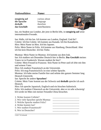 German Nationalities and Languages Worksheet: Nationalitäten und Sprachen