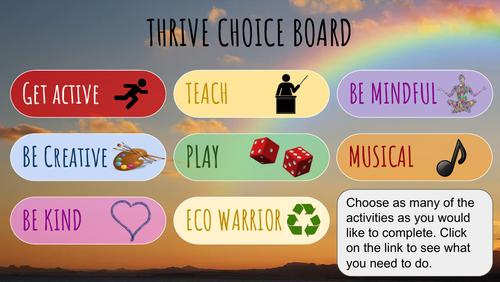 Wellbeing activities following Thrive Approach