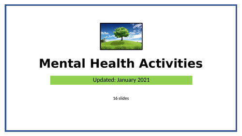 Mental Health & Wellness Activities - to do in class or at home