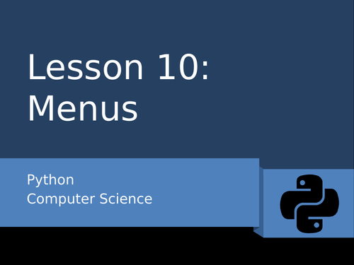 Python 10 - Menus